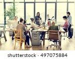 teamwork together professional... | Shutterstock . vector #497075884