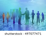 business people silhouettes on... | Shutterstock . vector #497077471