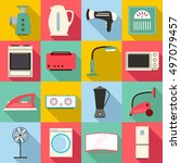 household appliances icons set. ...   Shutterstock .eps vector #497079457