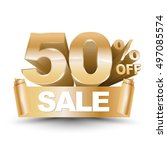 3d vector shiny gold discount... | Shutterstock .eps vector #497085574
