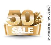 3d vector shiny gold discount... | Shutterstock .eps vector #497085574