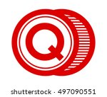 circle red typography alphabet... | Shutterstock .eps vector #497090551