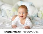 four months old baby with blue... | Shutterstock . vector #497093041