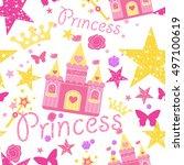 princess seamless pattern for...   Shutterstock .eps vector #497100619