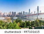 modern panoramic skyline of chongqing,yangtze river bridge,china