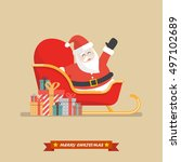 santa claus on a sleigh with... | Shutterstock .eps vector #497102689