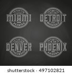 linear logos for miami  denver  ... | Shutterstock .eps vector #497102821
