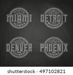 linear logos for miami  denver  ... | Shutterstock .eps vector #497102821