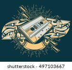 audio cassette and graffiti... | Shutterstock .eps vector #497103667