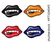 vampire halloween set of sexy... | Shutterstock .eps vector #497104045