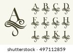 vintage set1 . capital letter... | Shutterstock .eps vector #497112859