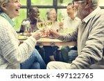 group of senior retirement meet ... | Shutterstock . vector #497122765