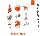 set of flat autumn icons.... | Shutterstock . vector #497123347
