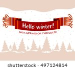 warm knitted winter scarf with...   Shutterstock .eps vector #497124814