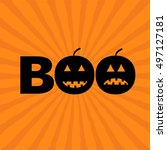 word boo text with smiling sad... | Shutterstock .eps vector #497127181