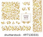 vector set of ornate frames ... | Shutterstock .eps vector #497130331