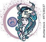 decorative zodiac sign aries | Shutterstock .eps vector #497138137