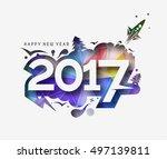happy new year 2017 peel off... | Shutterstock .eps vector #497139811