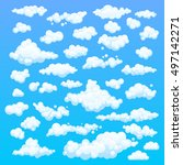 cartoon clouds. illustration on ... | Shutterstock . vector #497142271