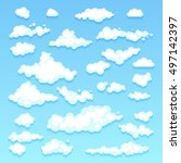 set of blue sky  clouds. icon... | Shutterstock . vector #497142397