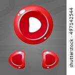 cartoon red buttons. vecor ui...
