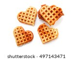 heart shaped waffles isolated... | Shutterstock . vector #497143471