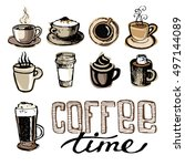 coffee collection   hand drawn... | Shutterstock .eps vector #497144089