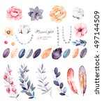 beautiful winter collection... | Shutterstock . vector #497144509