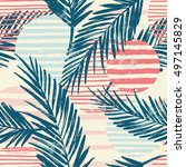trendy seamless exotic pattern... | Shutterstock .eps vector #497145829