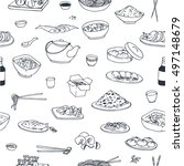 doodle seamless pattern with... | Shutterstock .eps vector #497148679