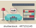 interior living room in flat... | Shutterstock .eps vector #497151145