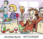 bad mannered young man eating a ... | Shutterstock .eps vector #497155069