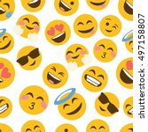 emoji seamless pattern on a... | Shutterstock .eps vector #497158807