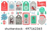 christmas holiday icons  tags ... | Shutterstock .eps vector #497162365