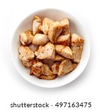 bowl of grilled chicken meat... | Shutterstock . vector #497163475