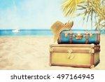 vintage pile ancient suitcases  | Shutterstock . vector #497164945