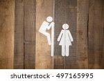 funny wc restroom symbols man... | Shutterstock . vector #497165995