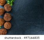 homemade falafel  close up shot ... | Shutterstock . vector #497166835