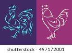 vector illustration of rooster...   Shutterstock .eps vector #497172001