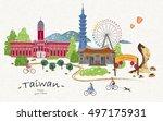 Hand Drawn Taiwan Travel Poste...