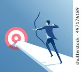 businessman to aim at a target... | Shutterstock .eps vector #497176189