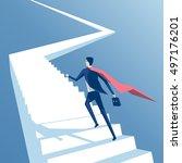 super businessman runs up the... | Shutterstock .eps vector #497176201
