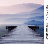 Wooden Pier On Lake Site Facin...
