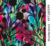 abstract floral seamless... | Shutterstock .eps vector #497180599