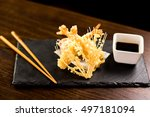 fried tempura shrimps with soy... | Shutterstock . vector #497181094