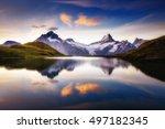 alpine view of the mt.... | Shutterstock . vector #497182345