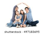 healthy asian family smiling... | Shutterstock . vector #497183695