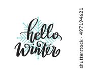 vector hand written winter... | Shutterstock .eps vector #497194621