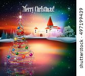 abstract christmas illustration ... | Shutterstock .eps vector #497199439