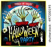 halloween party horror night... | Shutterstock .eps vector #497200195